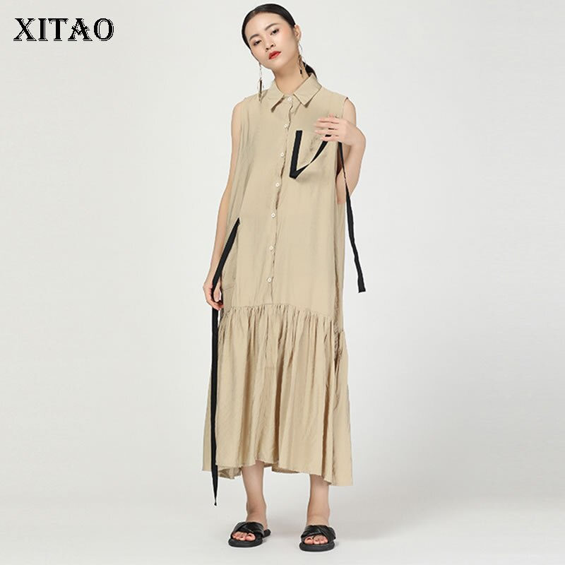 XITAO Mulheres Do Vintage Artesanato Fita Jacquard Midi Vestido Patckwork Bolso Plissado Sem Mangas Mulheres Moda Roupa Nova 2019 WBB4089