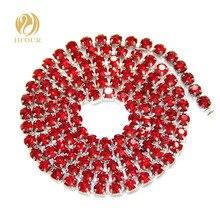 Chaîne en argent strass et cristaux   Livraison gratuite, base en argent, verre rouge, accessoires pour vêtements ou robe de mariée, bricolage, 5yard/paquet, haute qualité
