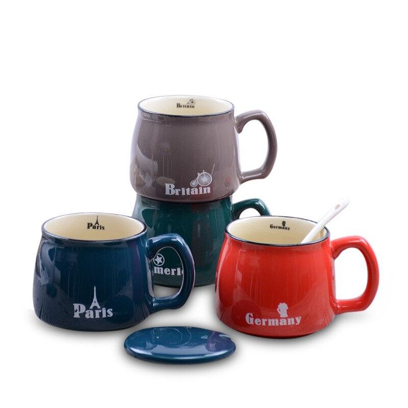 380ml criativo cerâmica país caneca grande capacidade americano, paris, britian, alemanha caneca de café copo para casa