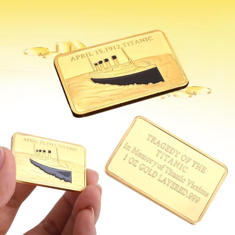 Квадратная 24K позолоченная титаническая сувенирная монета памятная монета слиток бар украшения подарок домашняя коллекция искусства современное золото