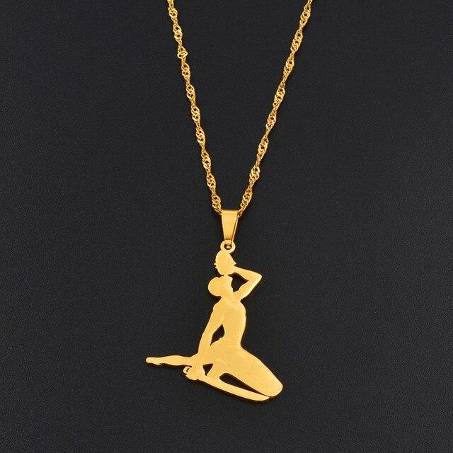 Anniyo Haiti Pendant Necklace for Women Girls Ayiti Items Gold Color Jewelry Gifts of Haiti Accessories  Neg Maron #067221 8