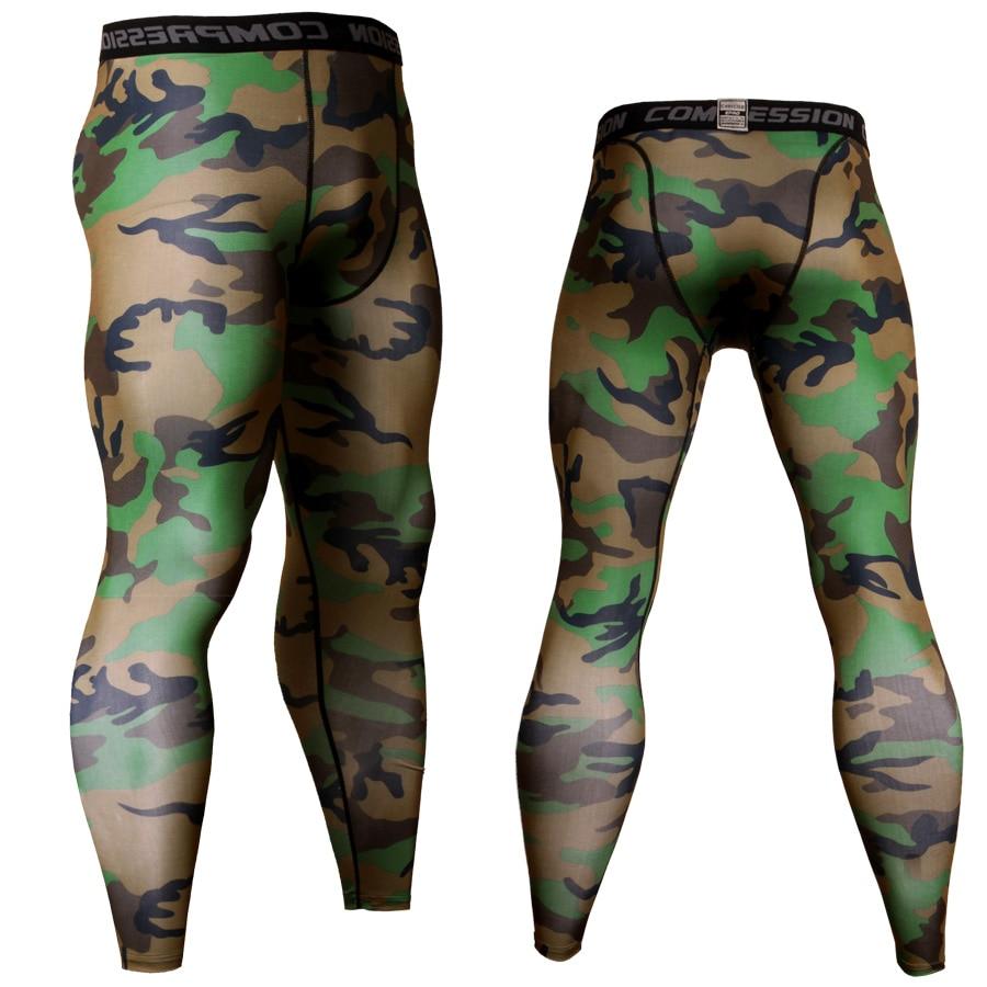 Men Compression Tights Pants Camouflage Sport Running Pants Lycra Skinny Leggings Gym Soccer Jogging Pants Fitness Jogger
