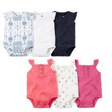 Модная летняя одежда для маленьких девочек, 3 шт. хлопковое боди без рукавов белого и синего цвета для новорожденных девочек 6-24 месяцев
