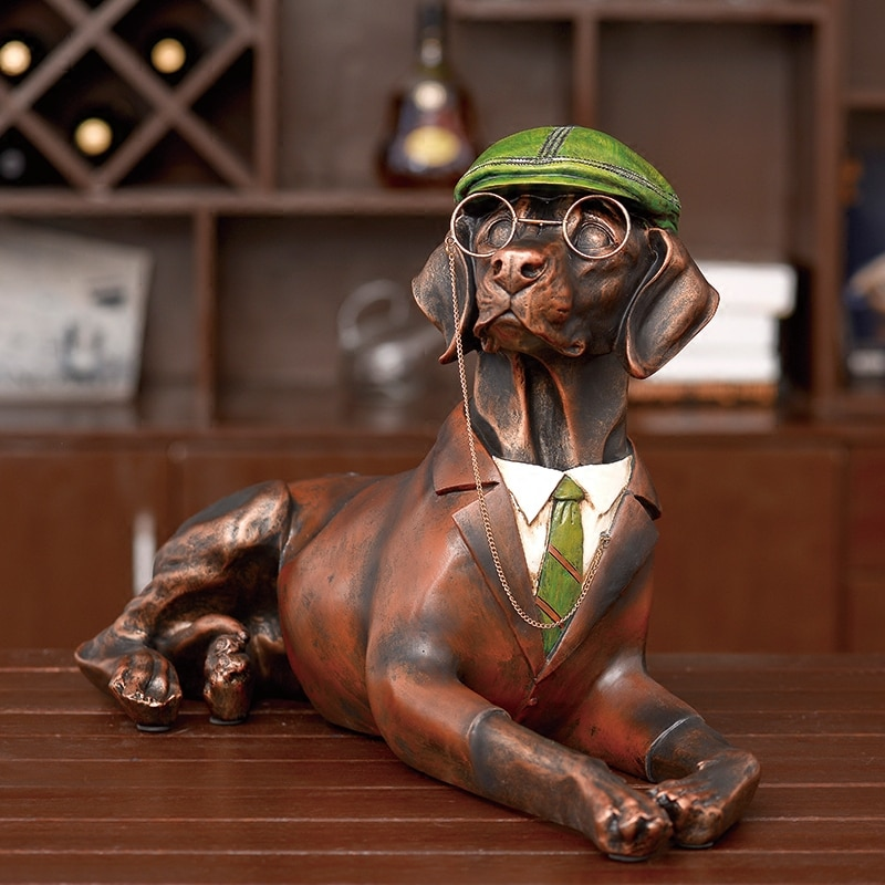 Escultura de resina para paisajismo de gran tamaño para decoración de jardín, patio, Labrador, perro caballero con gafas, Animal, jardín, parque, casa