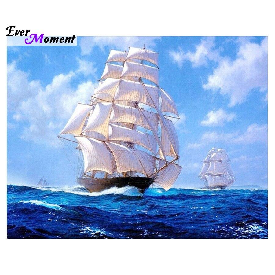 5d completo diy pintura diamante mosaico artesanal scenic navio mar ponto cruz de cristal quadrado diamante define diamante bordado asf107