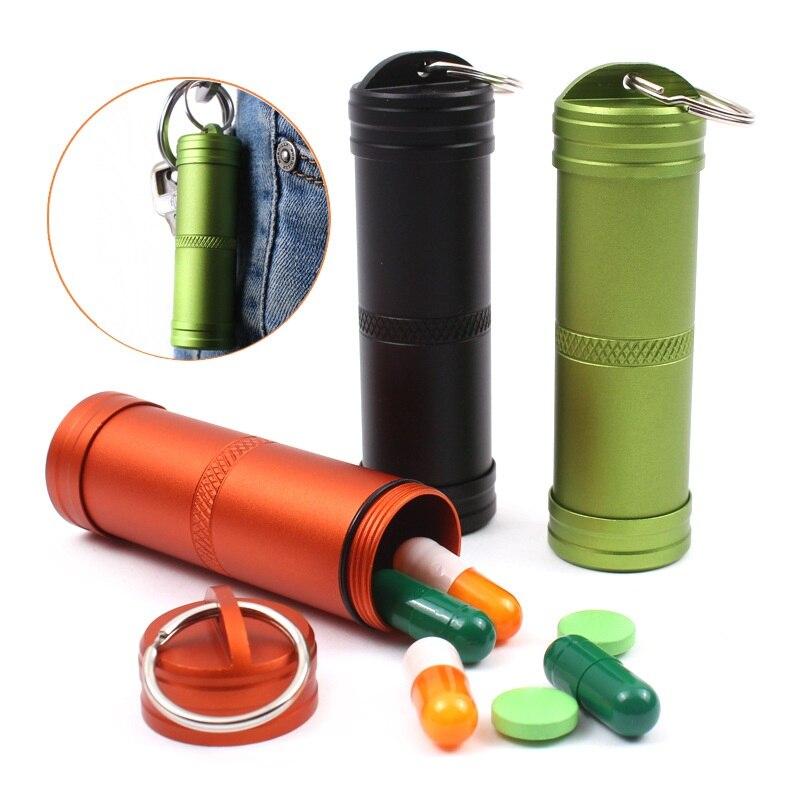 Caja de píldoras, contenedor impermeable de supervivencia para exteriores, llavero de botella de medicina de aluminio, equipo de emergencia para Camping EDC, Kits de viaje, herramienta