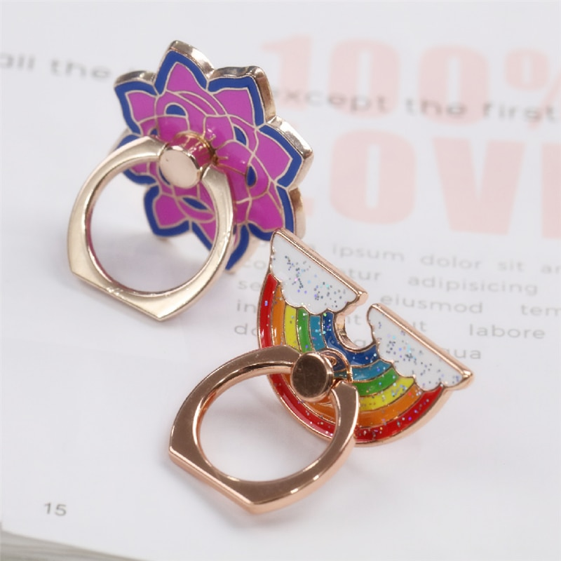 Universal 360 Rotating Rainbow Metal Cell Phone Accessories Jewelry Floral Finger Ring Stent For Mob