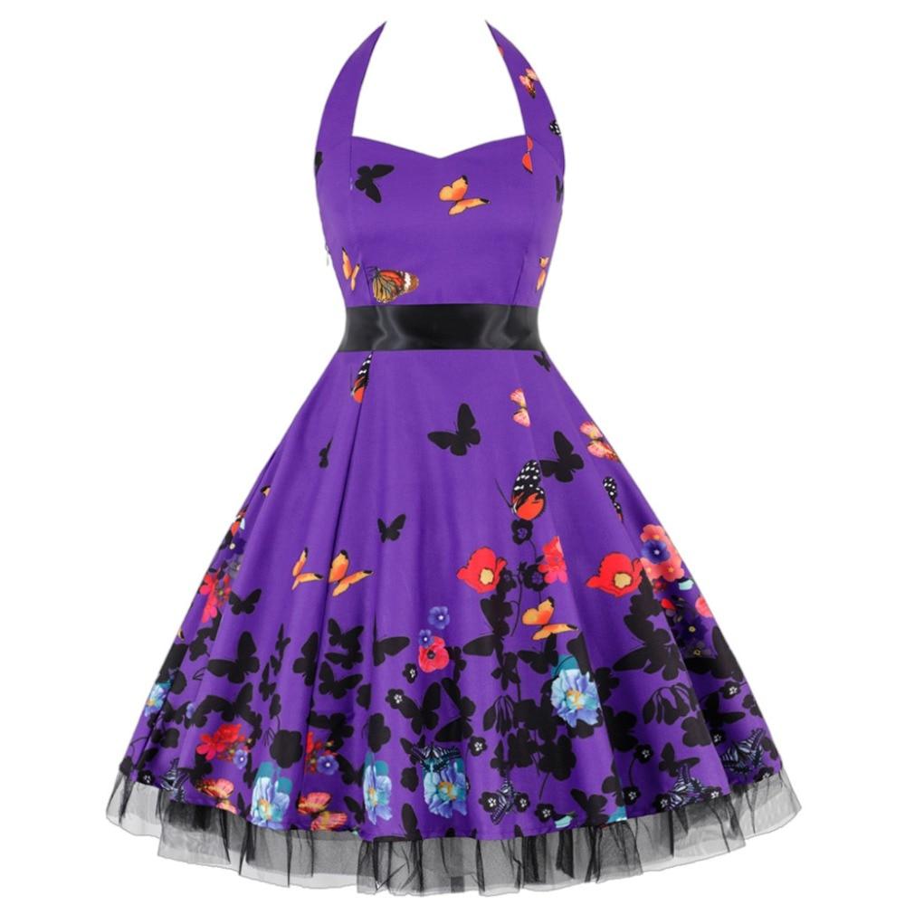 Vetement femme Vintage Polka vestido sin mangas primavera Rockabilly Retro mujer púrpura vestido midi