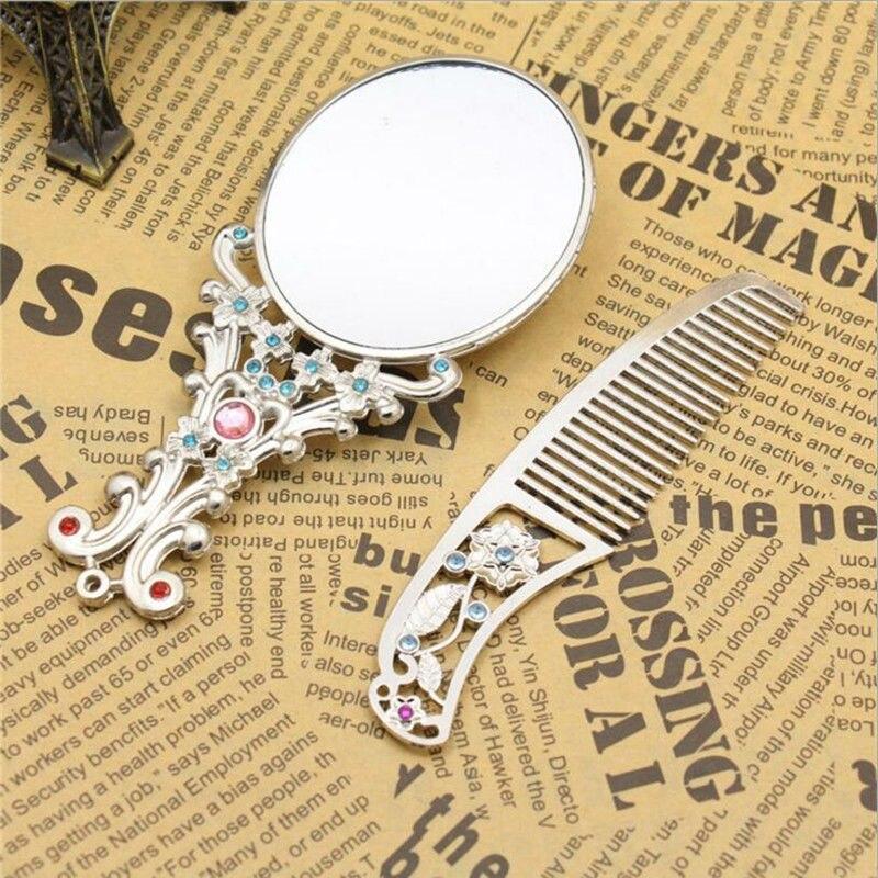 Silver color maquillaje espejo Retro crystal flowers Metal Portable mirror comb set makeup mirror Vintage Cosmetic mirror