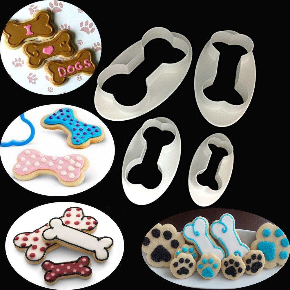Molde de osso de cachorro biscoito,, 4 unidades, fondant, confeitaria, bolo, biscoito, molde