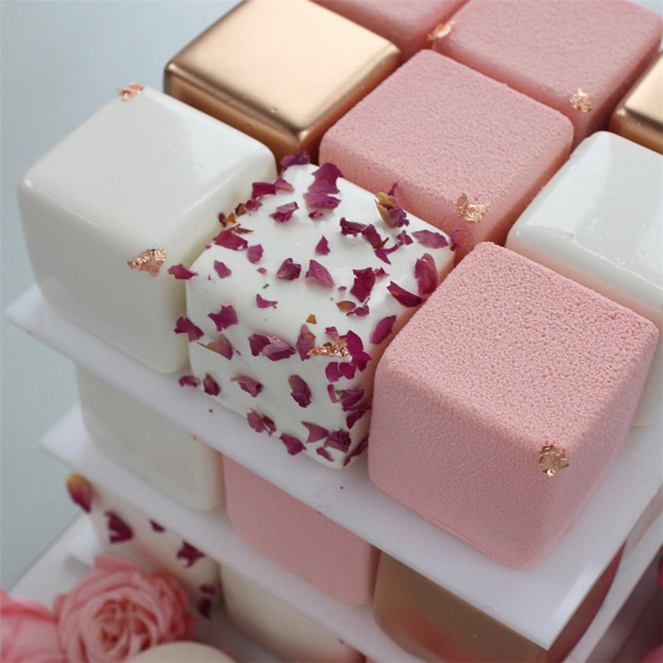 TTLIFE, 1 pieza, molde de pastel de silicona con forma cuadrada de 9 cavidades para hornear postres, helados, Mousse, molde para Fondant, herramientas de decoración
