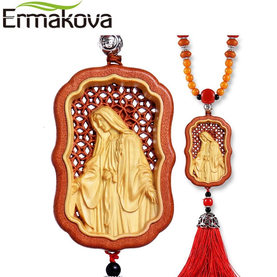 ERMAKOVA 100% Log Real Wood Art Craft Jesus Manual Engraving Madonna Car Ornament Home Car Decor Pendant Christian Catholic Gift