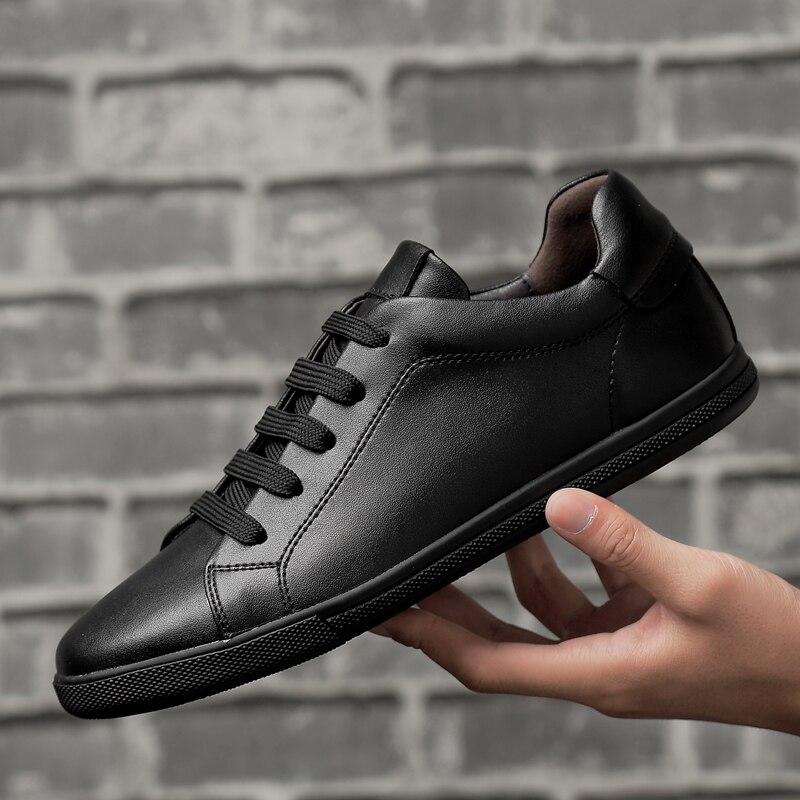 Einfache Weiße Turnschuhe Casual Leder Schuhe Leder Männer Turnschuhe Weiße Männliche Leder Schuhe Anti Rutschig Wohnungen Schuhe 2019 Neue