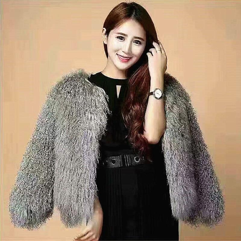 Casaco de pele de cordeiro das mulheres tan casacos de pele de ovelha curto casaco de pele de ovelha 50cm mongólia pele de ovelha