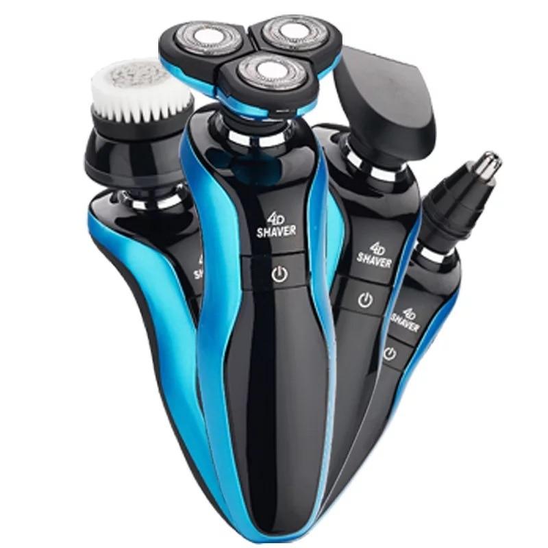 Máquina de afeitar eléctrica recargable lavable para hombres, cortadora de barba seca y húmeda, máquina de afeitar, máquina de afeitar eléctrica, afeitadora, cuidado facial, USB flotante 4D