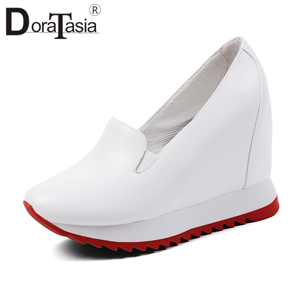 DORATASIA Elegant Height Increasing Sneakers Women Genuine Leather Loafers Women Autumn 2020 Platform Shoes Woman 32-40