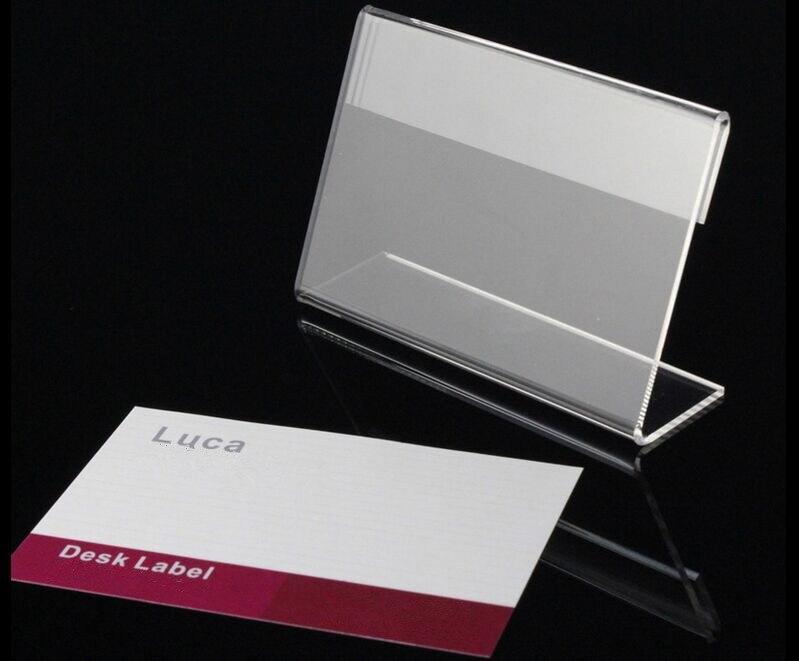T1.3mm Claro L Forma Price Tag Rótulo de Exibição Sinal Mesa Stand nome Promoção quadro rótulo de exibição titular Do Cartão de mesa de Papel 10 pcs