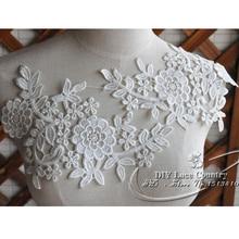 1 pièce en dentelle florale cousue   Blanc cassé, motifs floraux, appliques brodées en dentelle pour mariage, patchs brodés en dentelle pour mariée