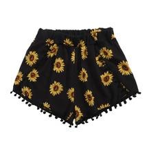 JAYCOSIN 2019 New Summer Women Shorts Sexy Korea Casual Pocket Elastic Waist Ball Tassel Sunflower Print For Beach Home 905113