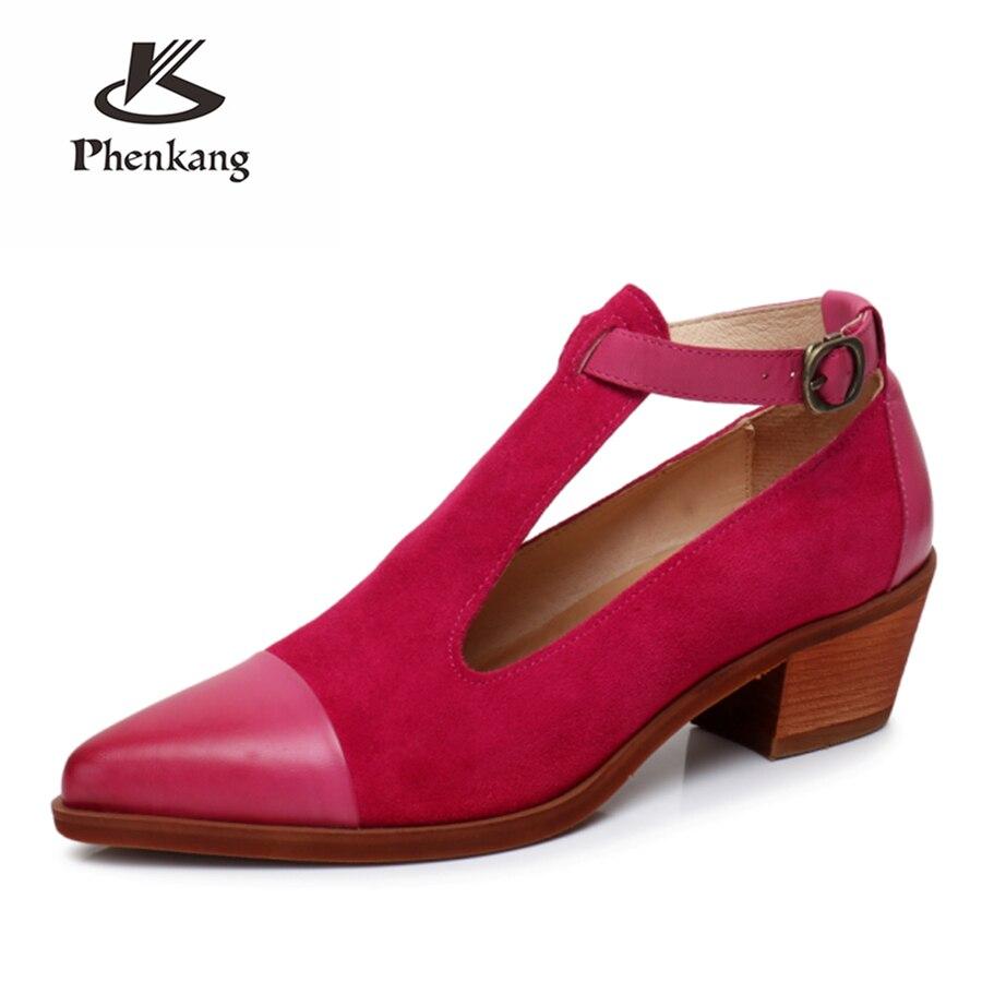 Genuíno couro de pele carneiro yinzo senhora designer vintage bombas sandálias sapatos artesanal oxford sapatos para mulher marrom azul vermelho 2020