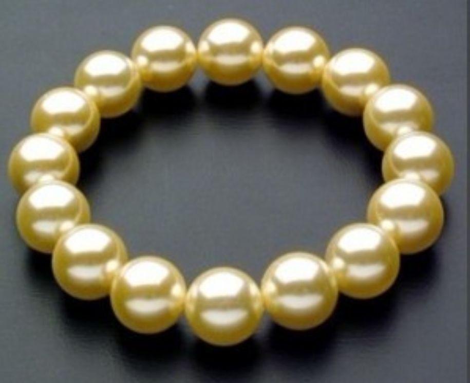 "Maravilloso Sur 10mm Mar Amarillo Concha perla pulsera AAA 7,5 ""@ ^ Noble estilo Natural Fine jewe envío 6,2 6,02"