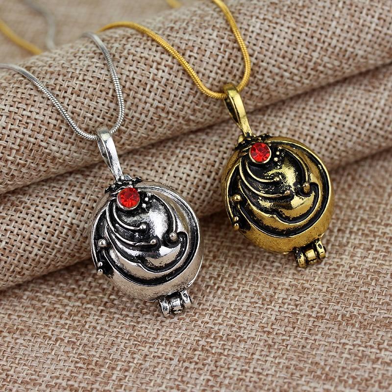 Vampiro diários elena gilbert verbena colar pingente de cristal vermelho charme feminino pode ser aberto vinhagejewelry presente de festa de natal