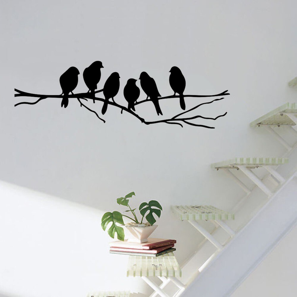 Pegatina de pared de rama de árbol con pájaros para pared de salón, pegatinas de arte, decoración del hogar, murales, A-146 extraíbles