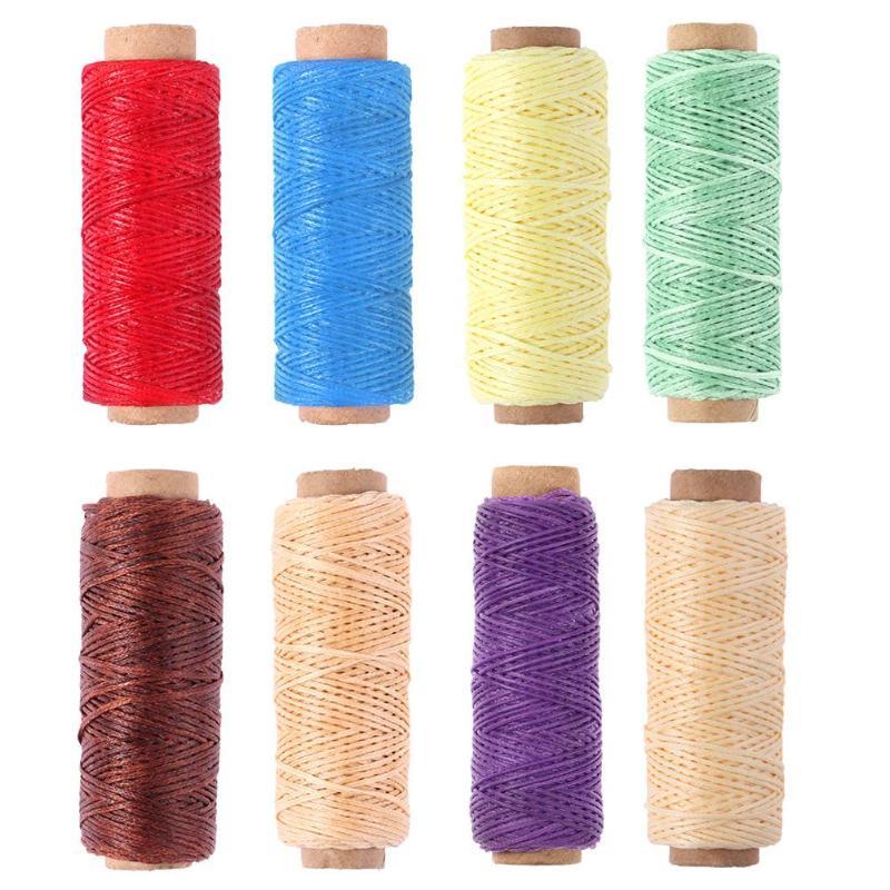 Hilo de coser 150D 50m hilo de cera DIY hecho a mano resistente al desgaste cuero costura plana hilo de cera DIY herramienta de artesanía hilos de coser