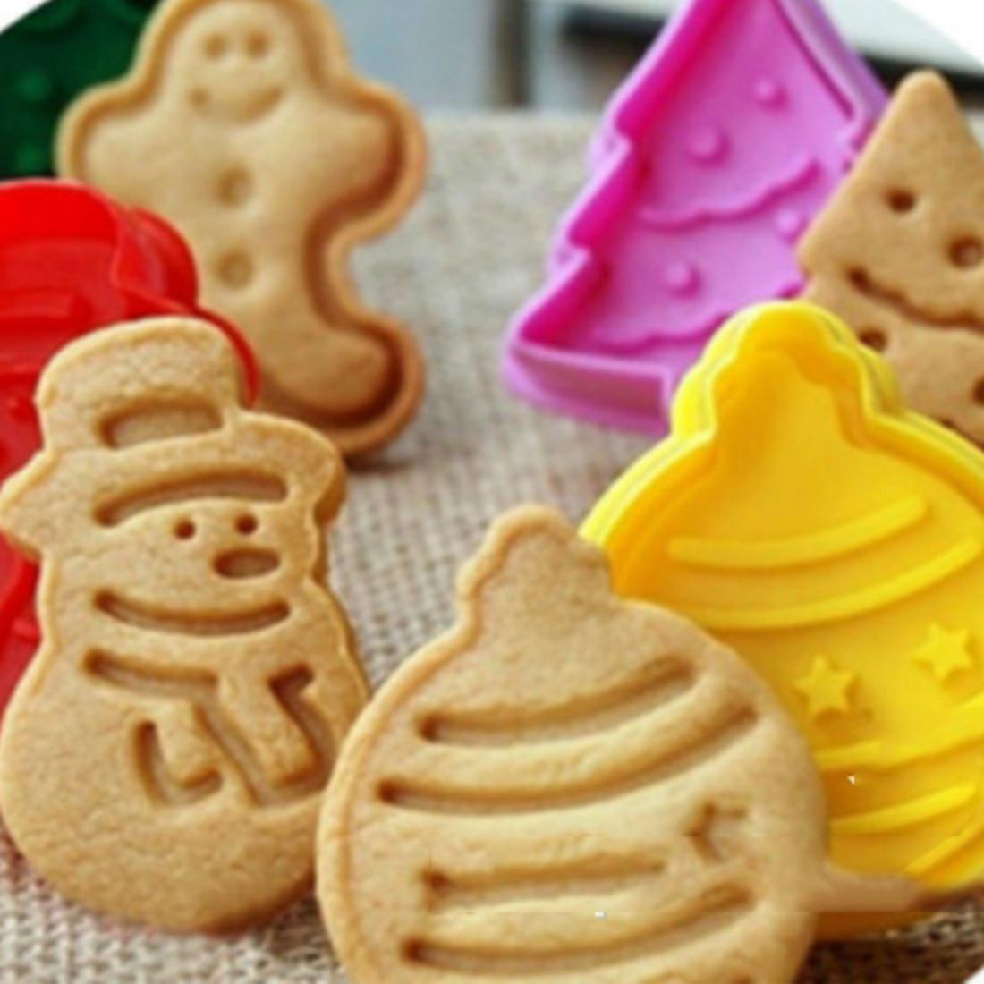 Moule à biscuits plongeateurs à biscuits   Moule à gâteaux, bonhomme de neige de noël, outil Sugarcraft outil de décoration de gâteaux, nouveau 4 pièces