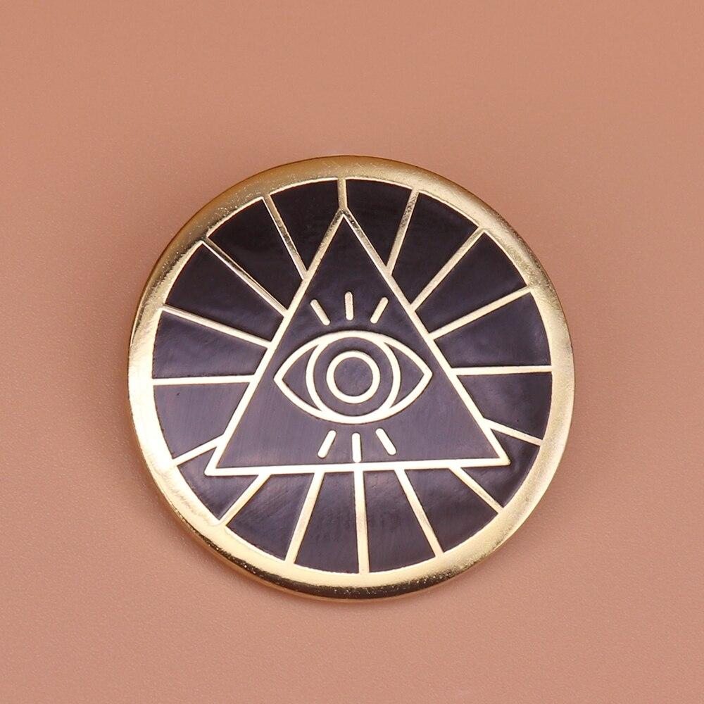 Illuminati esmalte pino triângulos pirâmide broche all-seeing olho emblema amuleto antigo egito jóias masculino feminino acessórios