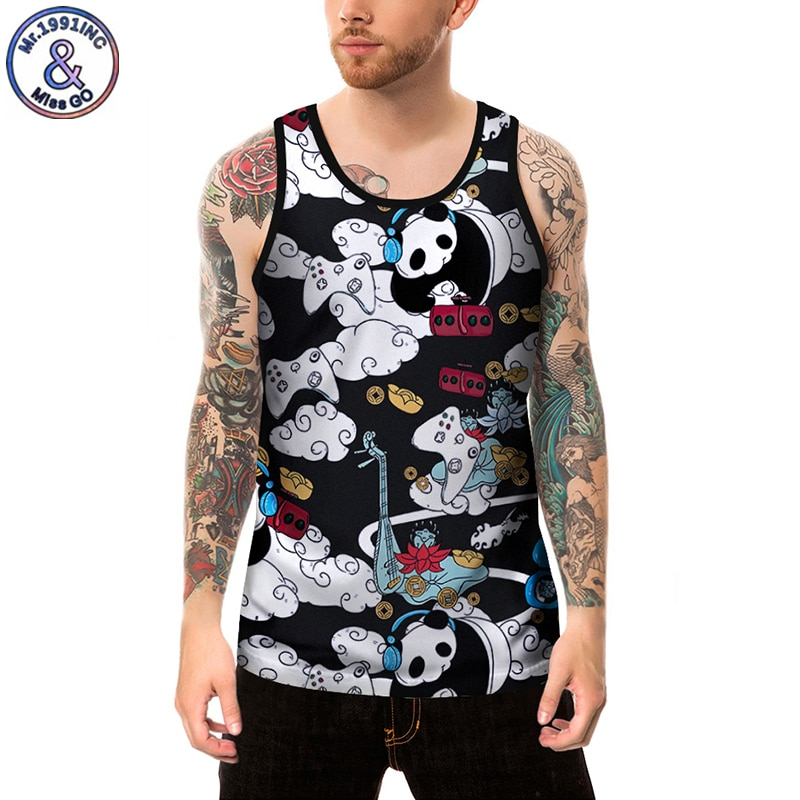 Mr.1991INC 2019 Summer New Brand Men Bodybuilding Clothing Tank Tops Print Cartoon Panda Casual Vest European size