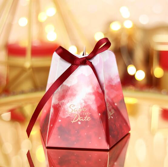 "100Pcs Red Pentagonal ""Save The Date"" Wedding Favors Candy Box Bomboniera Party Supplies Sugar Chocolate Box Gift Box"