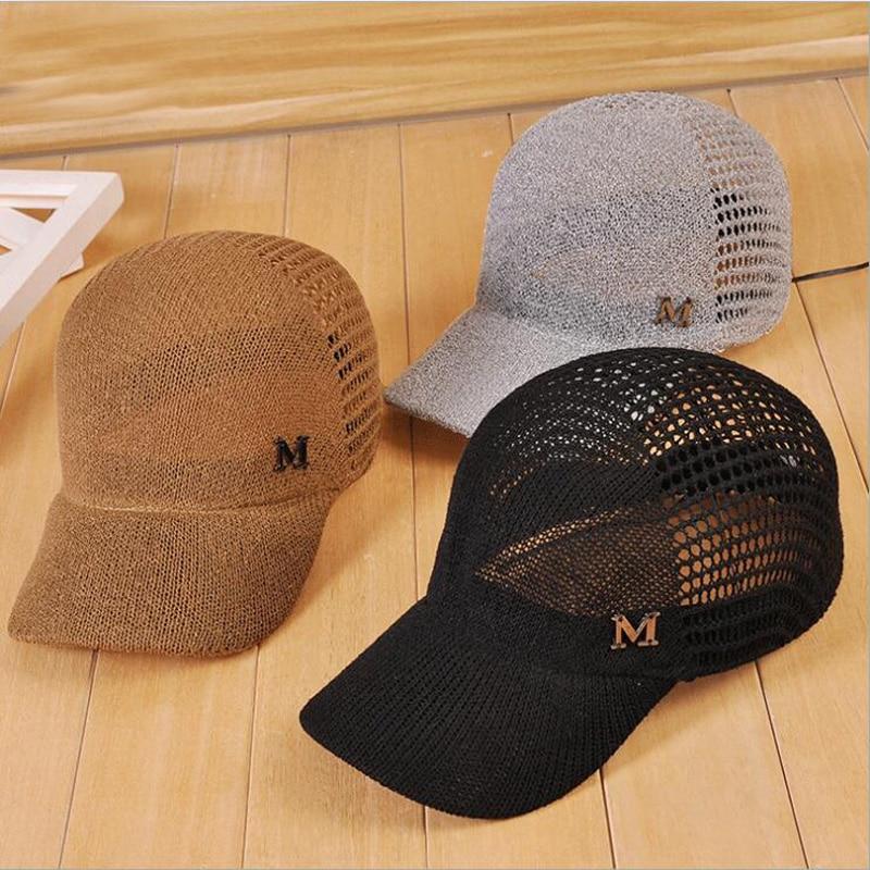 2019 New Fashion Women M letter Hollow Baseball Cap Summer Breathable Cool Equestrian Hat Snapback Hat British Retro Sun Hat