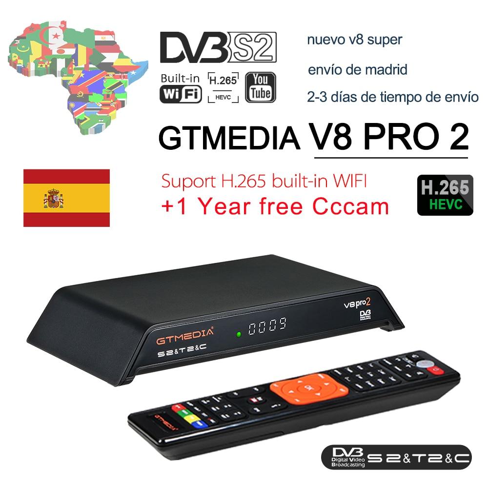GTmedia V8 Pro 2 Receptor DVB-S2 DVB-C DVB-T2 Built-in WiFi H.265 Support IPTV PowerVu DRE &Biss key Satellite TV Receiver 1080P