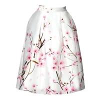 fashion white peach print high waist was thin skirt elegant skirt black peach digital tie dye knee length skirt