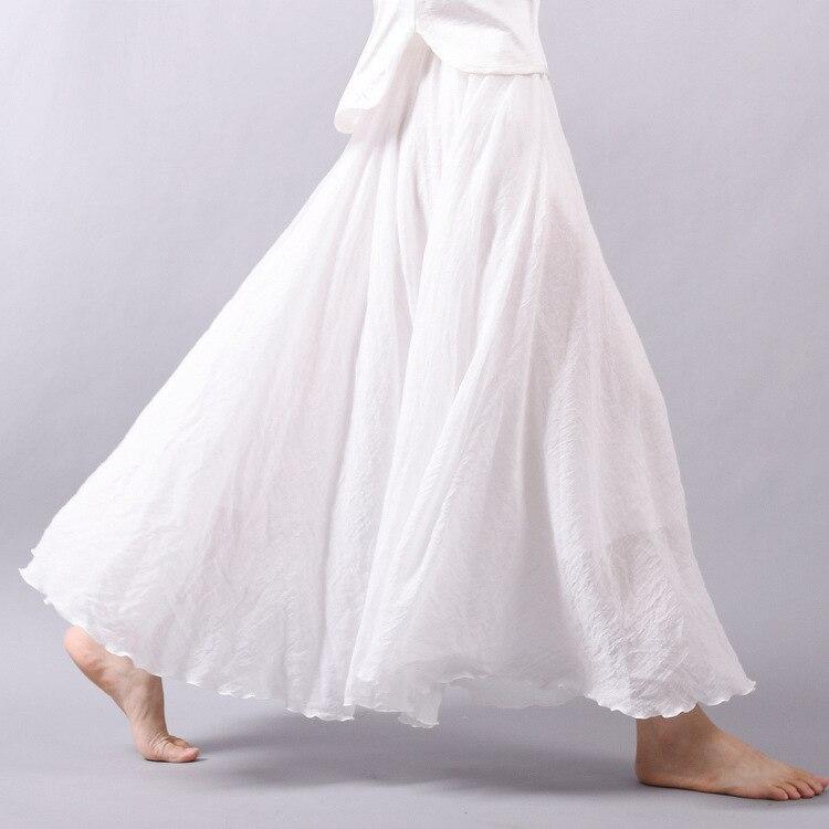 2019 Women Summer Skirt Linen Cotton Vintage Women Long Skirts Elastic Waist Pleated Maxi Skirts Beige White Boho Skirts Faldas