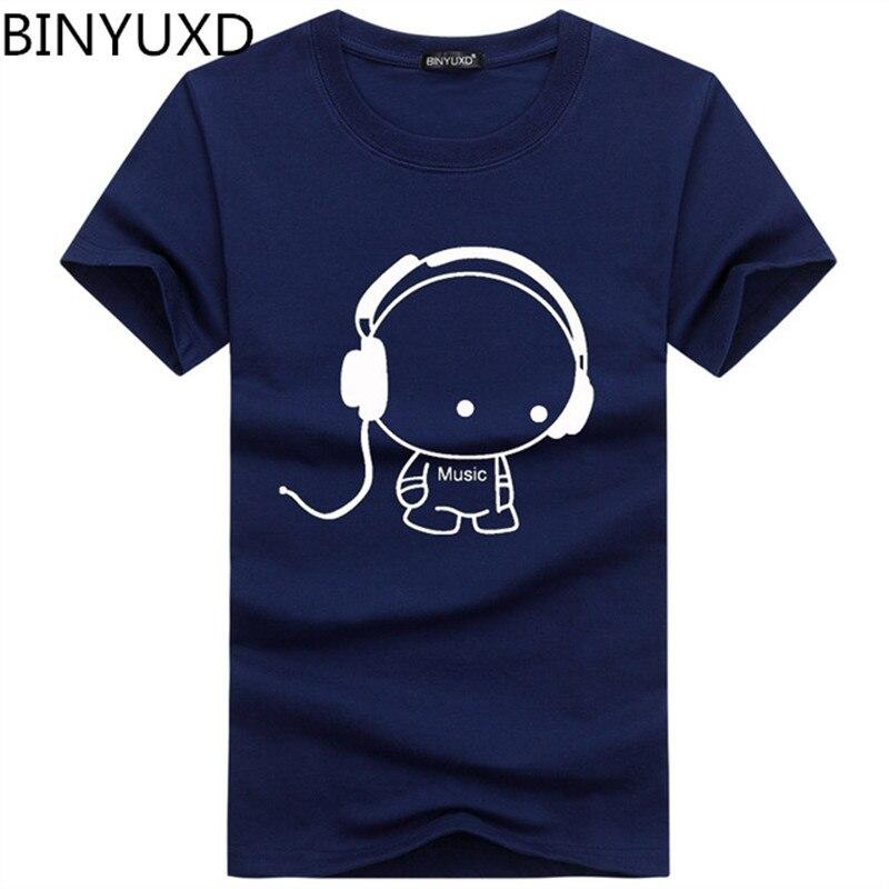 2019 sr. k jovens camiseta de manga curta homem fone de ouvido padrão dos desenhos animados estampa camiseta moda casual em torno do pescoço fino ajuste superior masculino