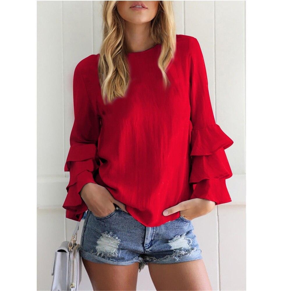 Zogaa senhoras blusa volant manga longa 2019 nova hirts babados boho primavera plus size tops cor sólida elegante blusa feminina