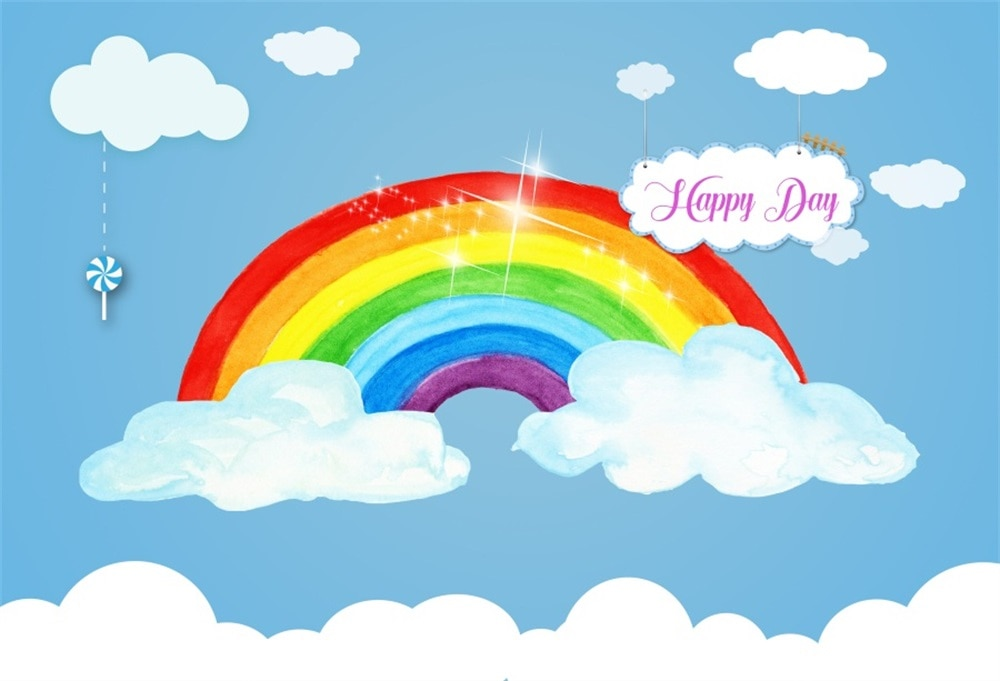wedding background the blue sky and white clouds party photo backdrops tree flower chair background for photographic studio Laeacco Cartoon Rainbow Clouds Baby Children Party Photography Background Customized Photographic Backdrops For Photo Studio