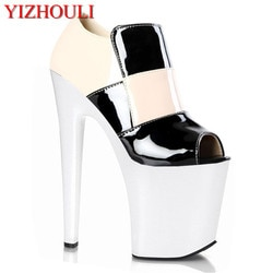 20 cm O novo salto alto moda ódio dia cabeça redonda pesados sapatos sexy boca de peixe estrela sapatos vender como quente bolos