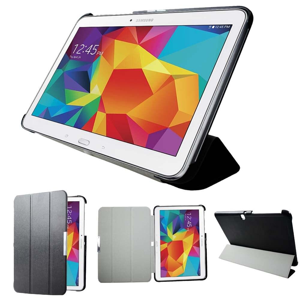 Ultrafina de Couro para Tablet Magnético para Samsung Capa Protetora Case Protetor Couro Inteligente Tab 4 Sm-t530 T535 T531 10.1 Dormir