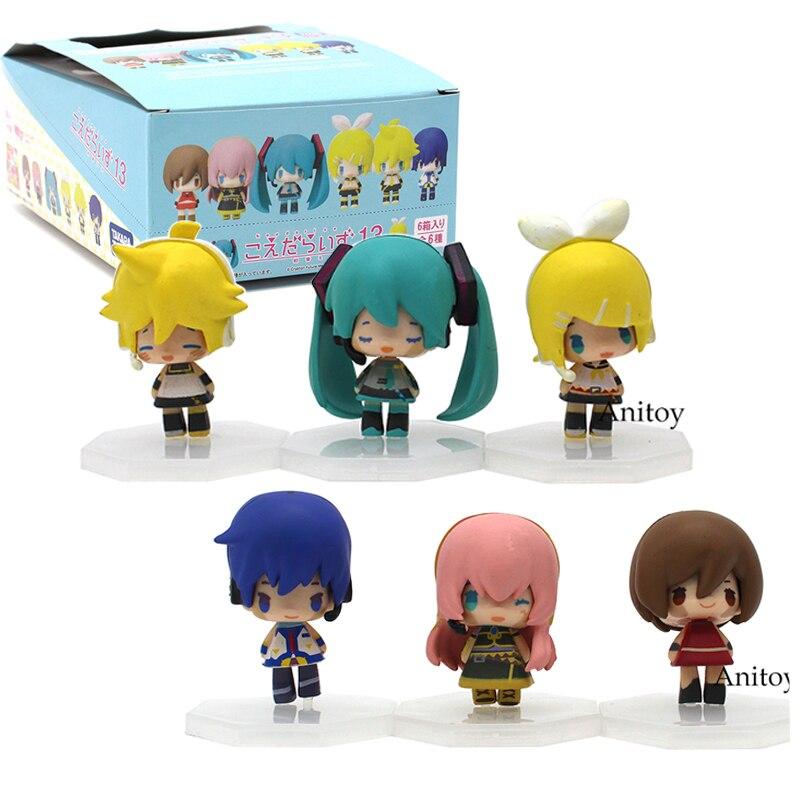 Miku Vocaloid Hatsune Miku Kaito Rin Kagamine Rin Ren Luka Meiko muñeca 6 unids/set de acción   PVC figuras de acción coleccionables juguetes para los niños
