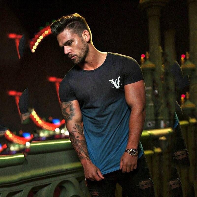 Yemeke nova moda masculina camiseta esportes de fitness lazer manga curta personalidade dupla cor design roupas masculinas alta qualidade