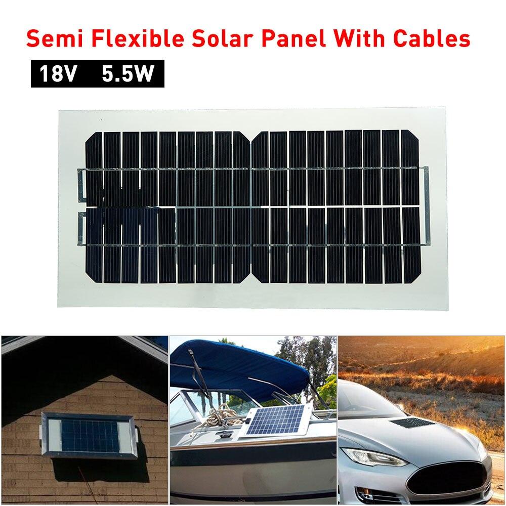 18V 5.5W 31.5x16.5x0.15CM panneau solaire Semi Flexible avec câbles panneau solaire monocristallin Transparent avec 2 Clips