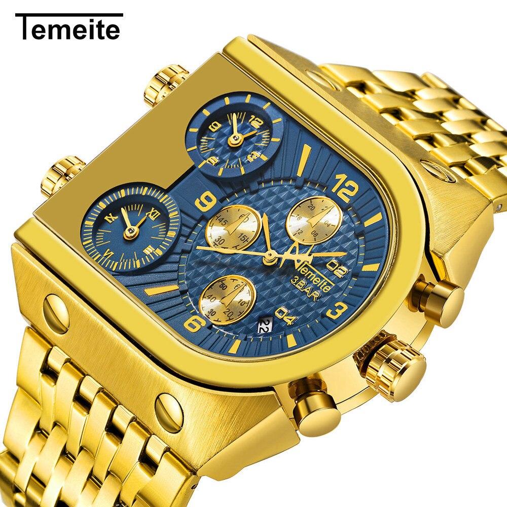 Reloj de pulsera Temeite de lujo para hombre, reloj militar de hombre con calendario multifunción, relojes de cuarzo de acero inoxidable para hombre