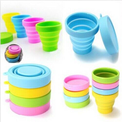 4 colores creativo de viaje al aire libre de silicona plegable retráctil botella telescópica plegable utensilios para bebida para viaje botellas de agua de cristal
