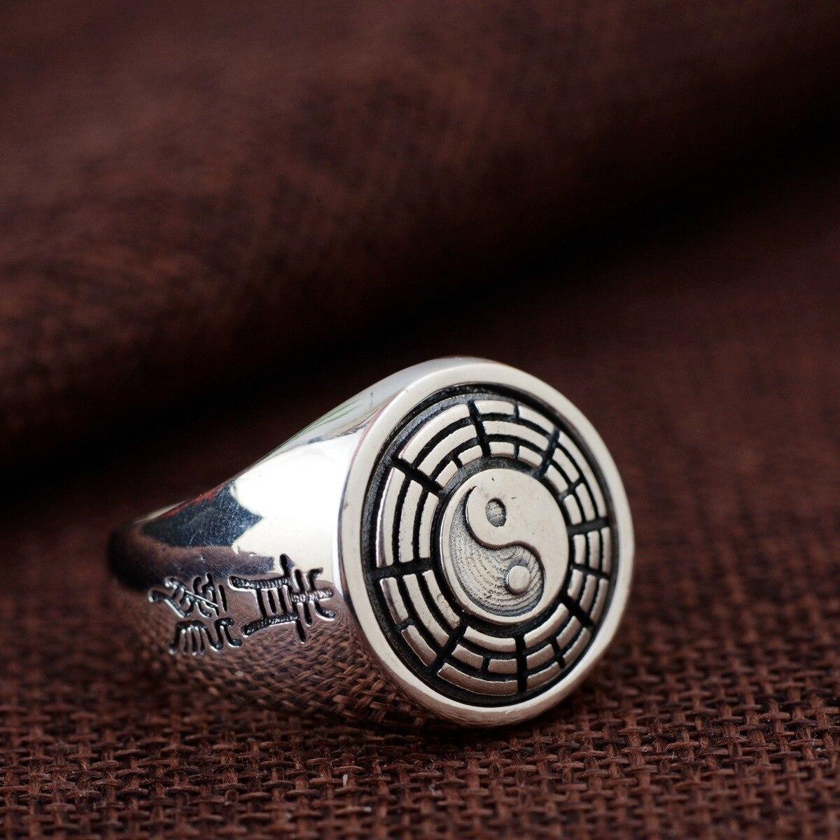 2018 neue Ankunft Großhandel Schmuck Linie Thai Silber Ring S925 Reinem Silber Antiken Stil Männer Klatsch Rotierenden Ring