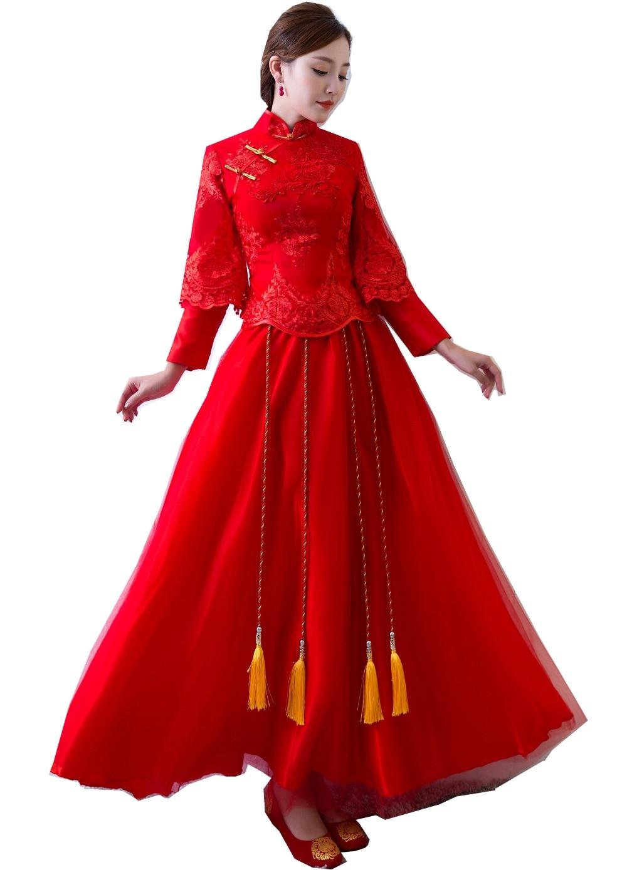 شنغهاي قصة طويلة الأكمام تشيباو الصينية الزفاف الملابس التطريز شيونغسام التقليدية فستان صيني