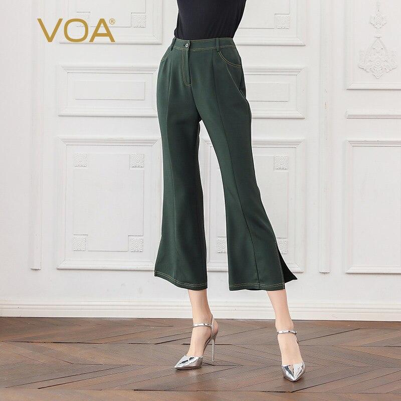 VOA Heavy Silk Flare Pants Autumn Women Trousers Vintage Dark Green Mid Waist Office Basic Solid Ladies Pants Large Size K720