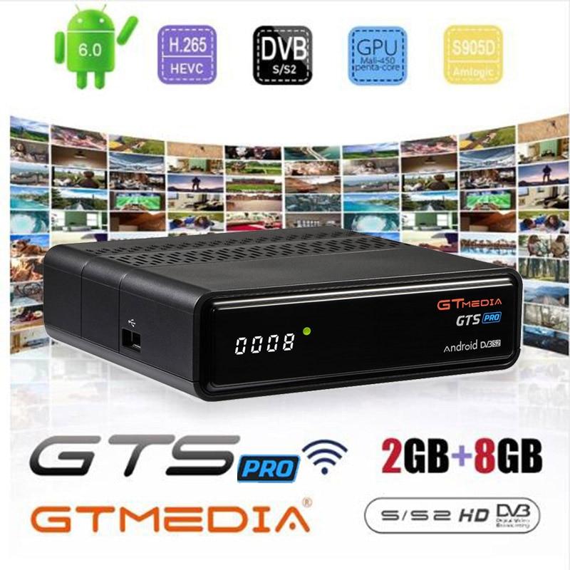 GTmedia-receptor satélite GTS PRO, decodificador de señal Freesat GTS PRO con Android 6,0, dispositivo de TV inteligente, Amlogic S905D, DVB-S2, 2 GB/8GB